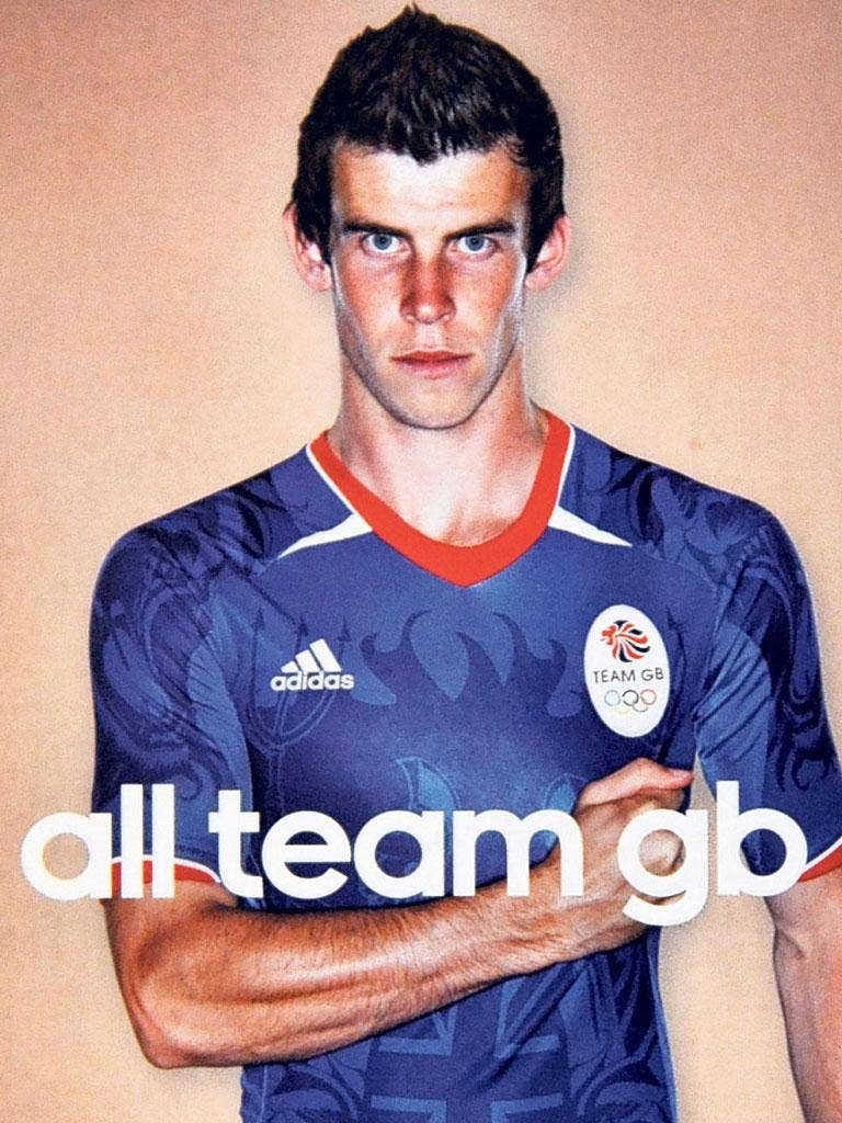 Welshman Gareth Bale in his 'Team GB' football shirt