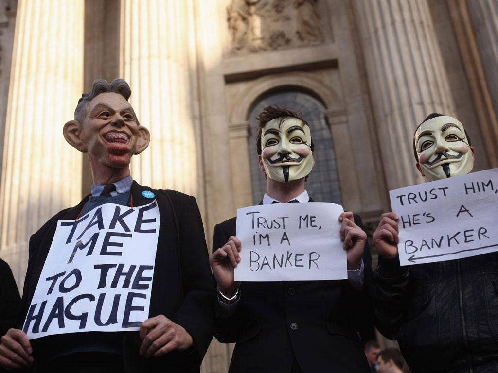 Demonstrators in the Occupy London protests outside St Paul's Cathedral