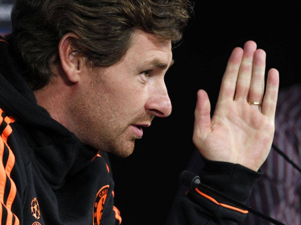 Andre Villas-Boas gestures during a Chelsea press conference in Genk last night