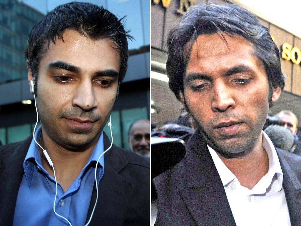 Salman Butt and Mohammad Asif leave court after being found guilty yesterday