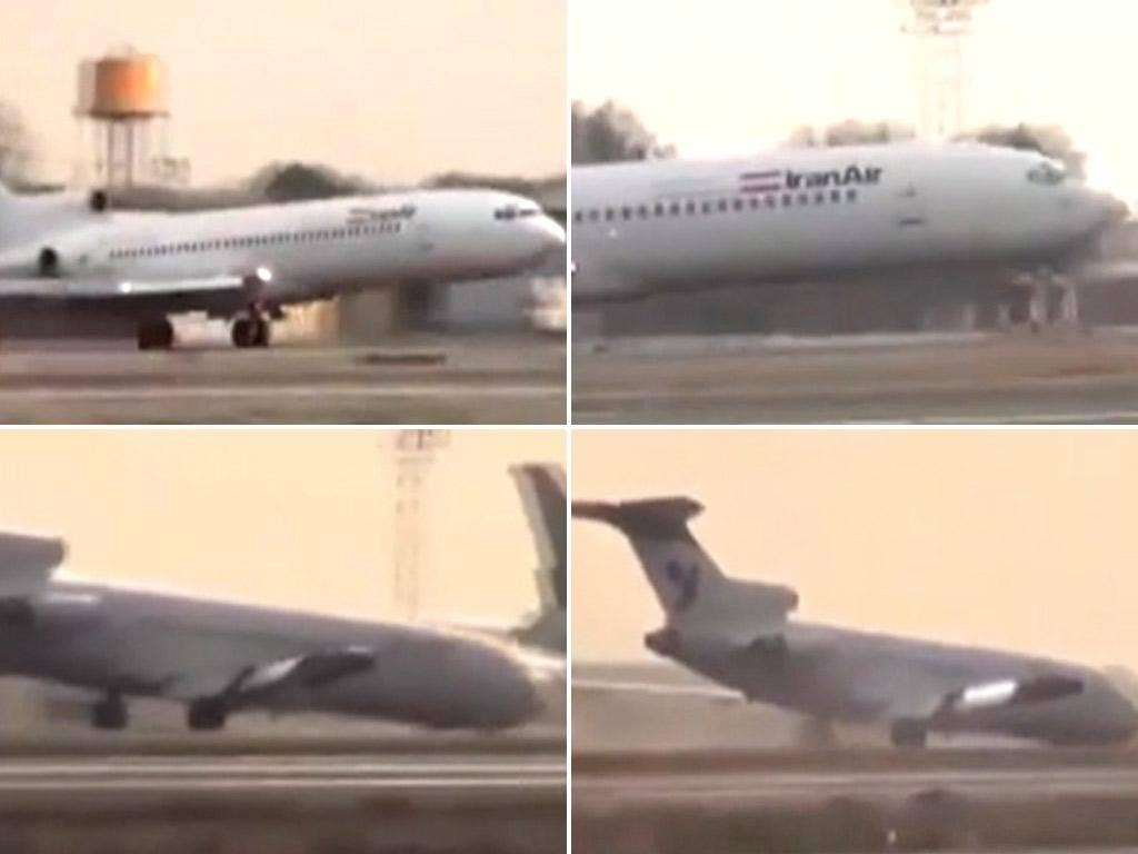 Video footage shows the plane landing on its rear wheels and gliding across the runway, before its nose hits the ground