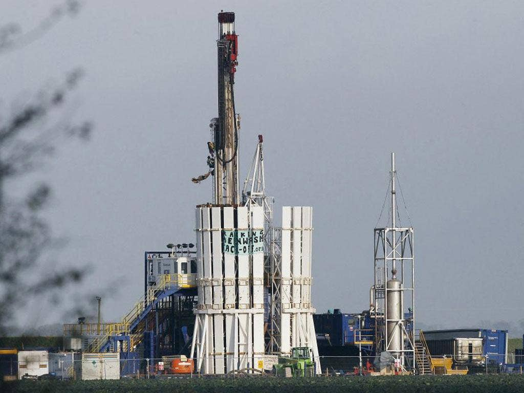 Protesters scale ashale gas rig at Banks, near Southport, yesterday, bringing a halt to work at the Cuadrilla site