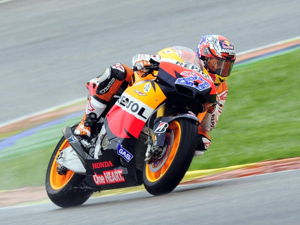 Casey Stoner topped the practice times in Valencia