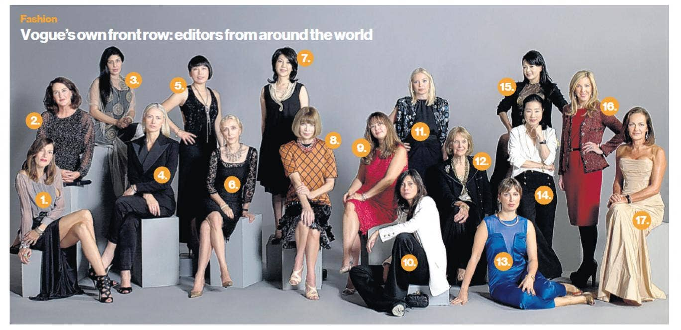 Seventeen editors of Vogue magazine's world editions have posed together to raise money for Japan after the earthquake and tsunami