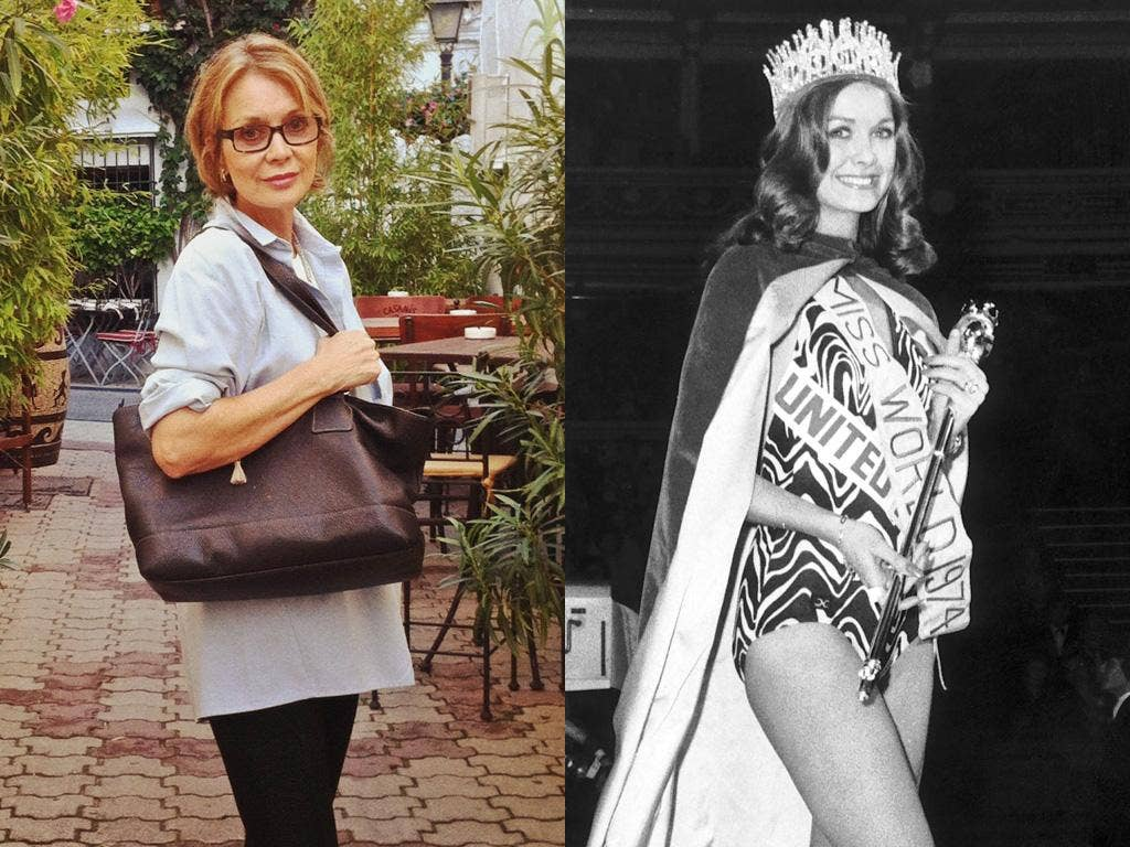 Helen Morgan today, left, and after being crowned Miss World in 1974