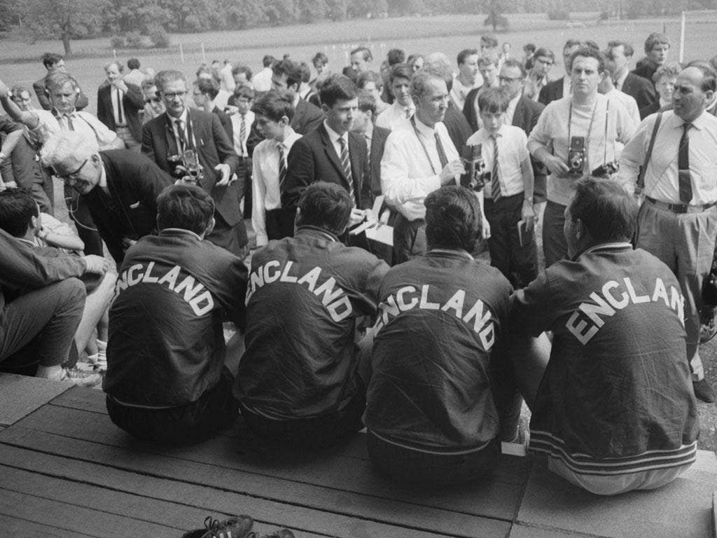 Members of the 1966 England World Cup squad meet the press at Lilleshall. The French based their Clairefontaine academy on the now defunct FA