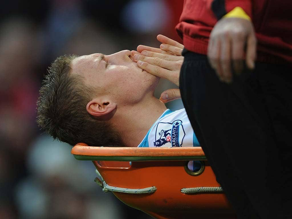 Connor Wickham was stretchered off against Manchester United