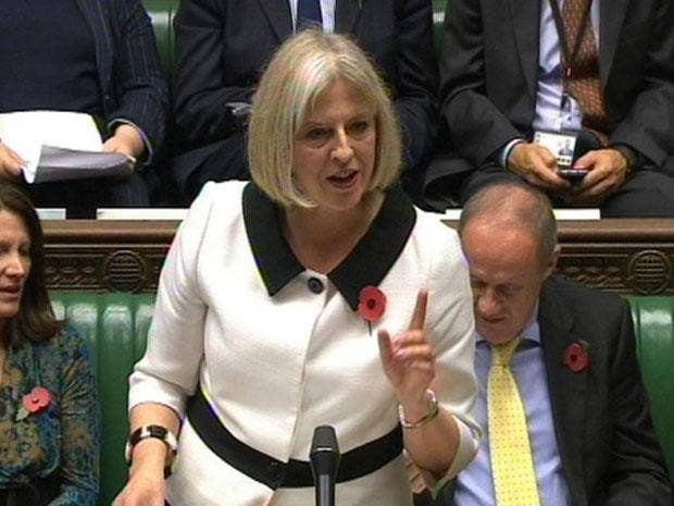 Theresa May speaks at the Opposition Day debate