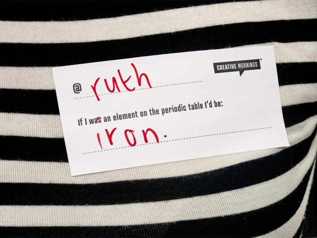 A Creative Mornings name tag