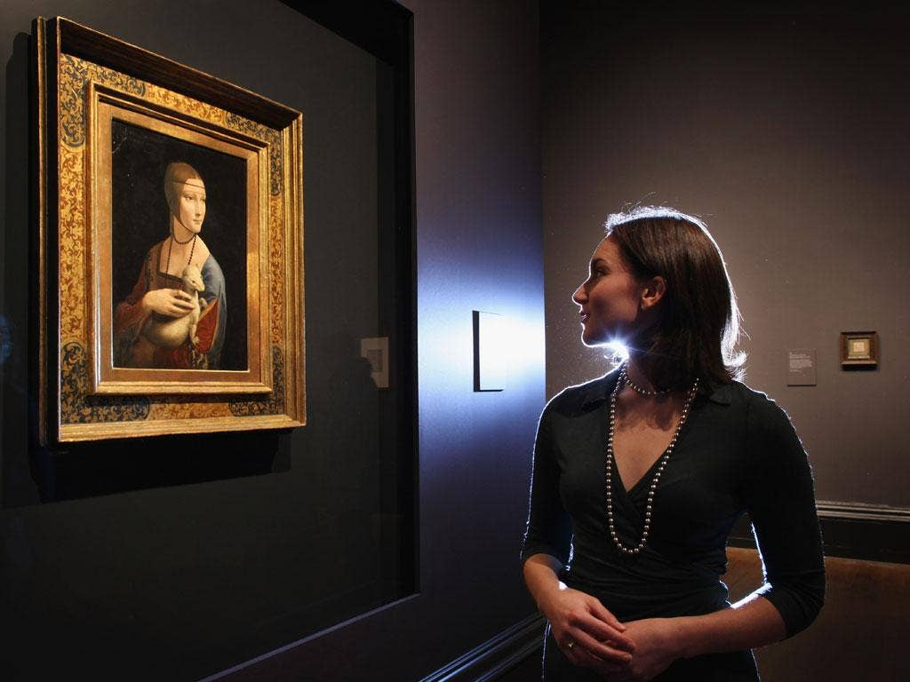 Curatorial assistant Francesca Sidhu at the National Gallery views The Lady with an Ermine