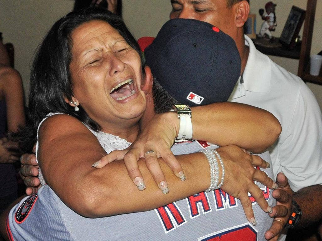 Wilson Ramos being greeted by his mother after his rescue