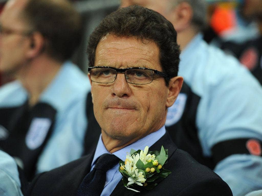 Capello looks on during the international friendly match between England and Spain at Wembley Stadium