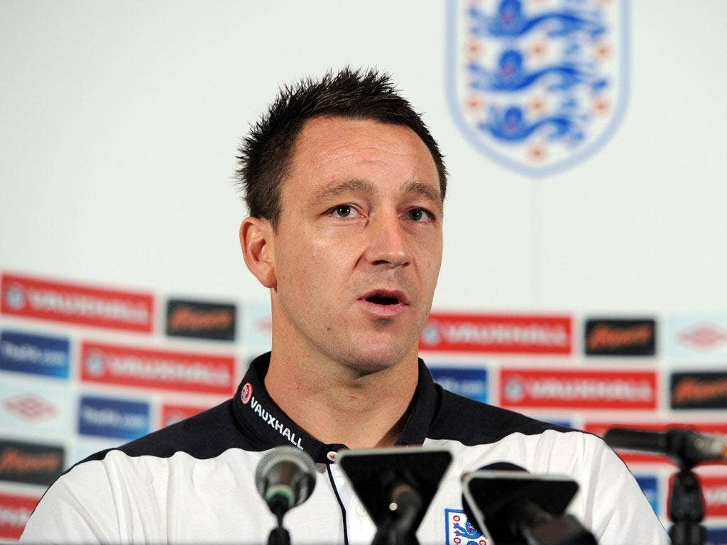 England captain John Terry addresses the media yesterday