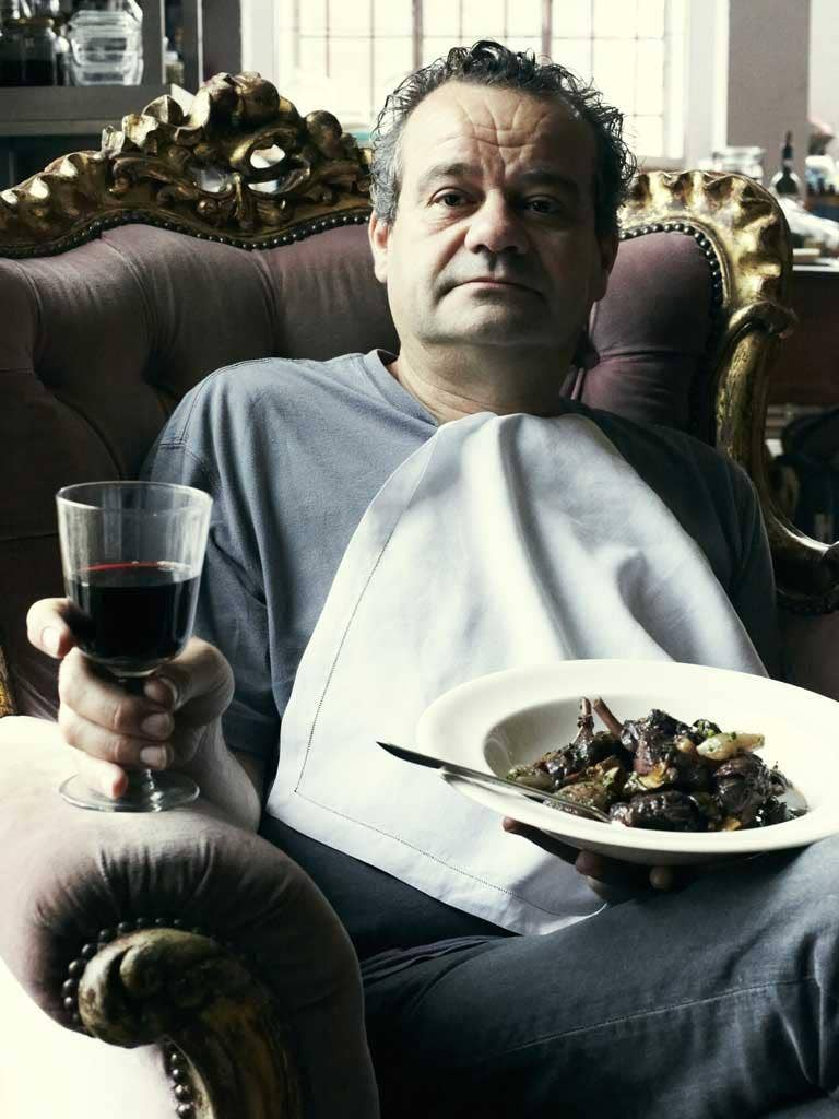 Mark Hix photographed in London with his pintade au vin