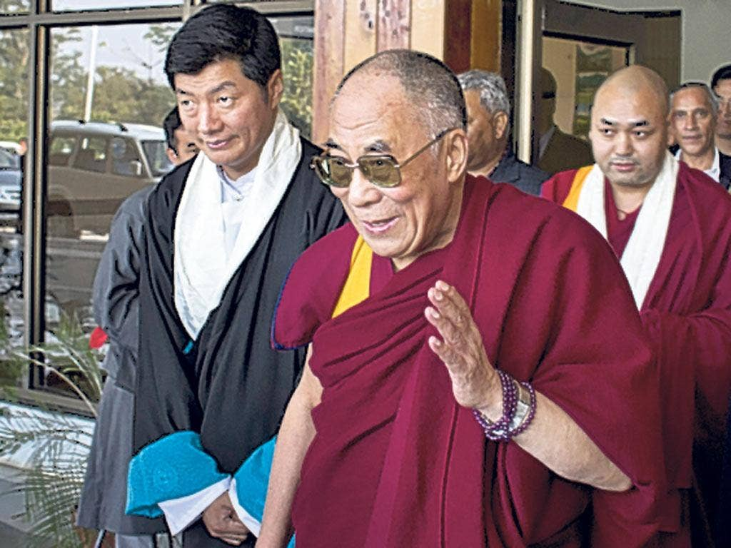 Lobsang Sangay, 'prime minister' of the Tibetan government in exile, with the Dalai Lama