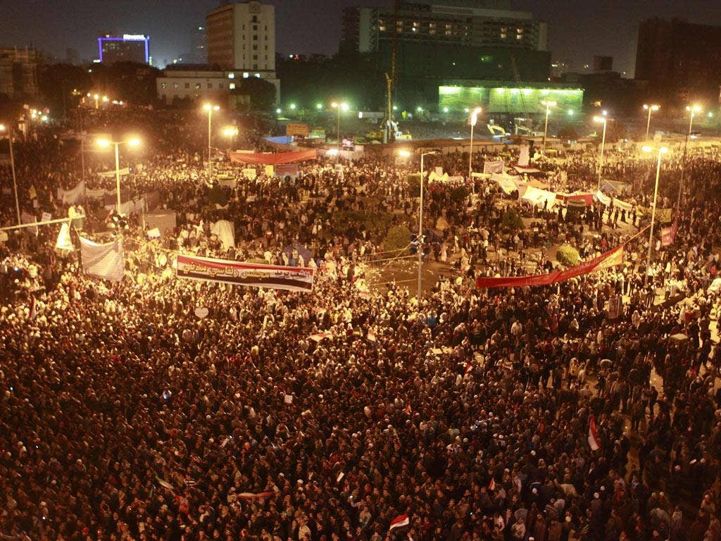 Egyptians attend an anti-military council protest at Tahrir Square in Cairo