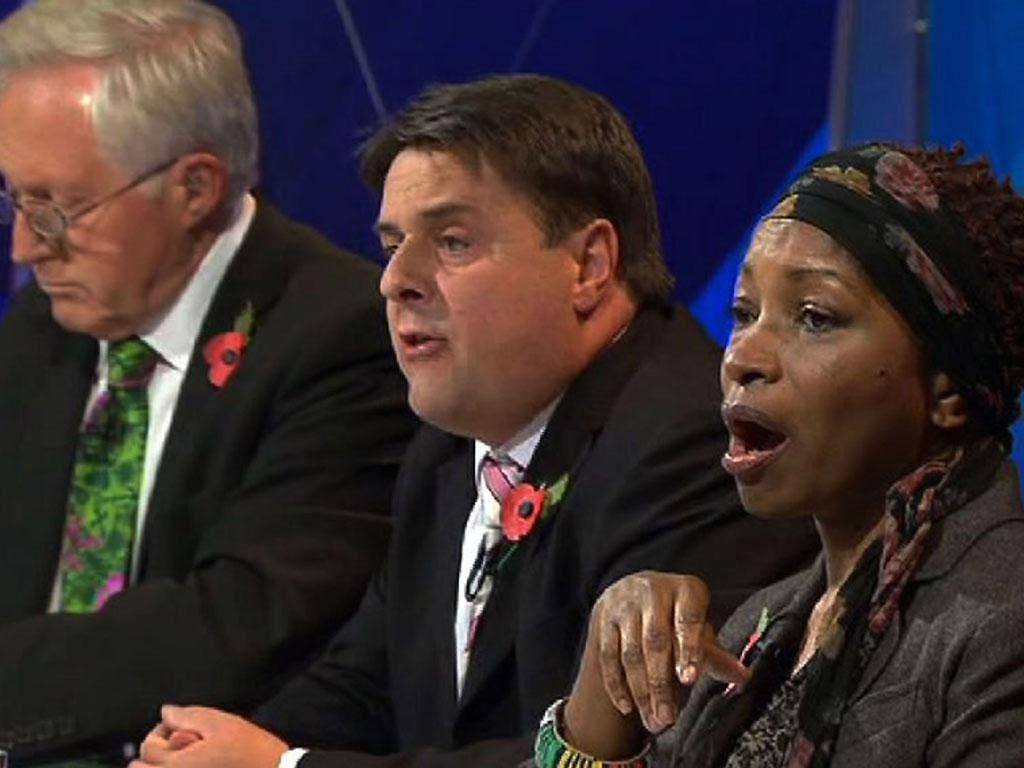 In the line of ire: David Dimbleby, Nick Griffin and Bonnie Greer on 'Question Time'