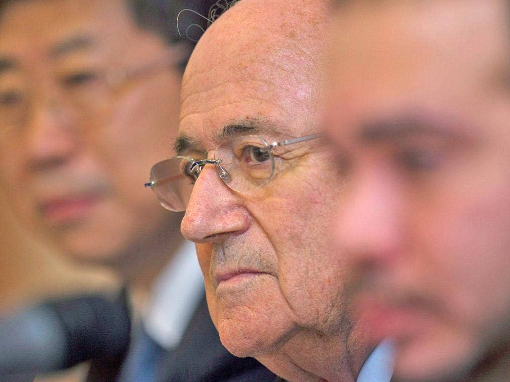 Sepp Blatter listens to some awkward questions in Kuala Lumpur yesterday
