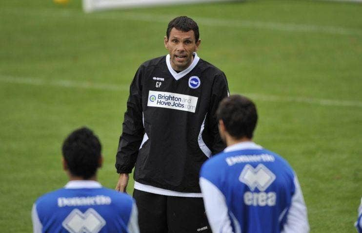 Gus Poyet takes Brighton training