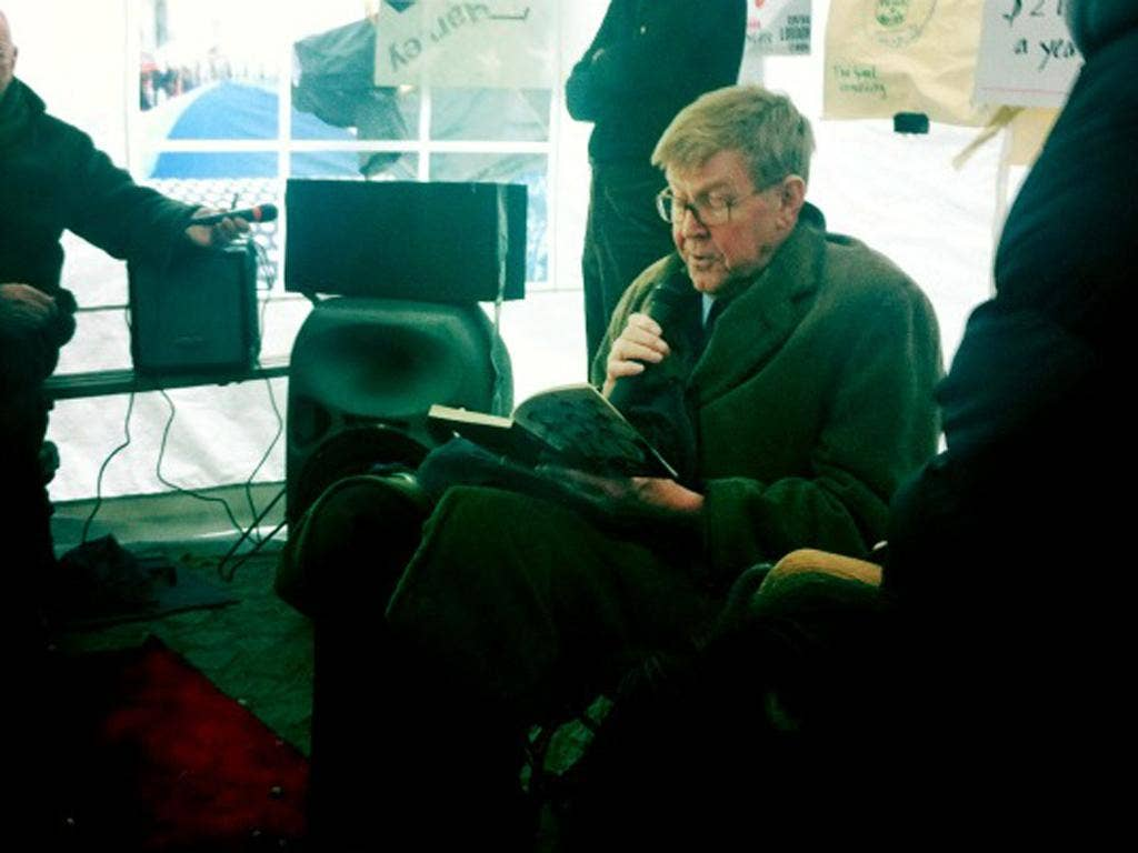 Alan Bennett gives a reading at the Occupy London site yesterday