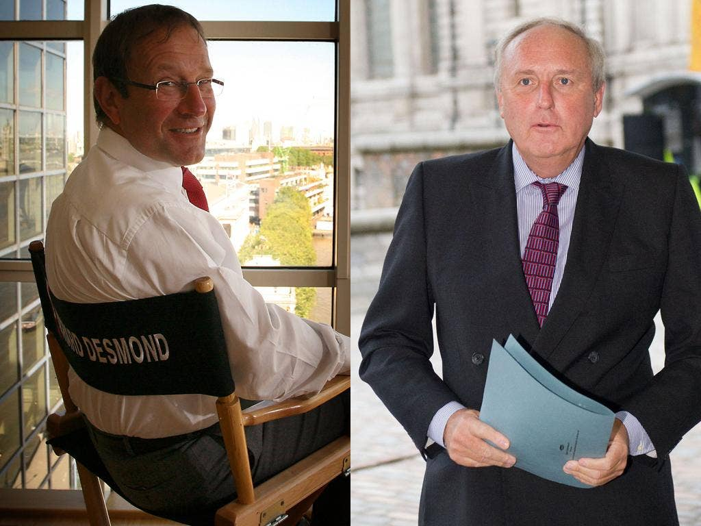 Richard Desmond, left, on Paul Dacre, right: 'He's living in the past. He sells his paper on giving away M&S vouchers'
