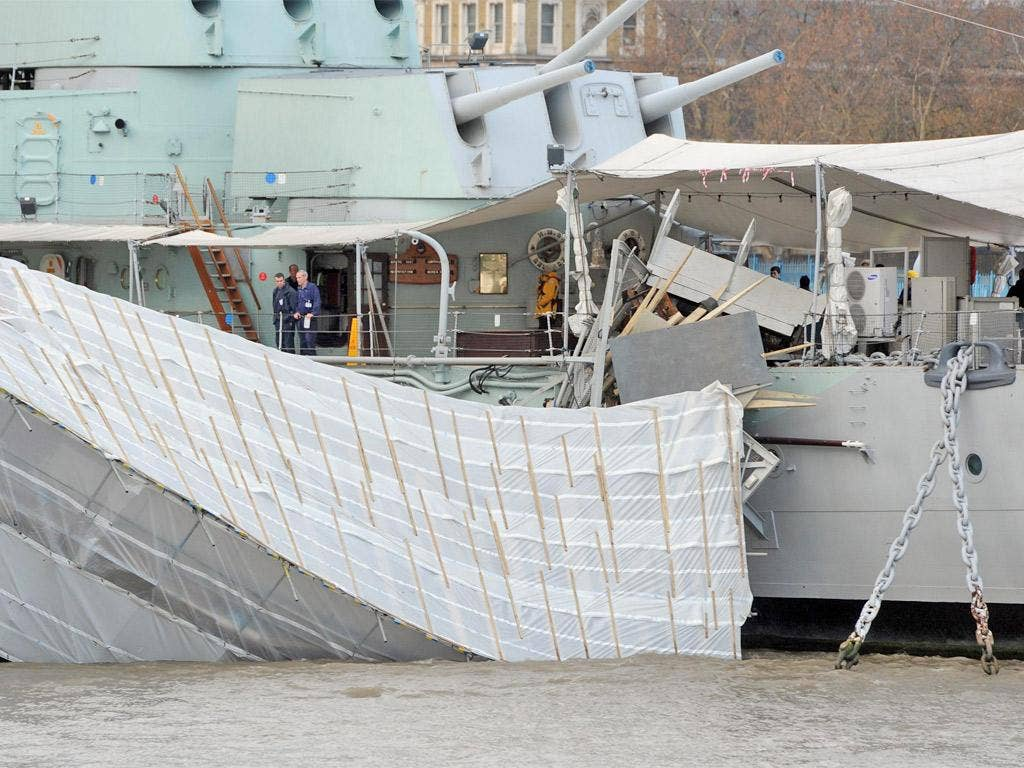 The gangway to HMS Belfast after it collapsed into the Thames