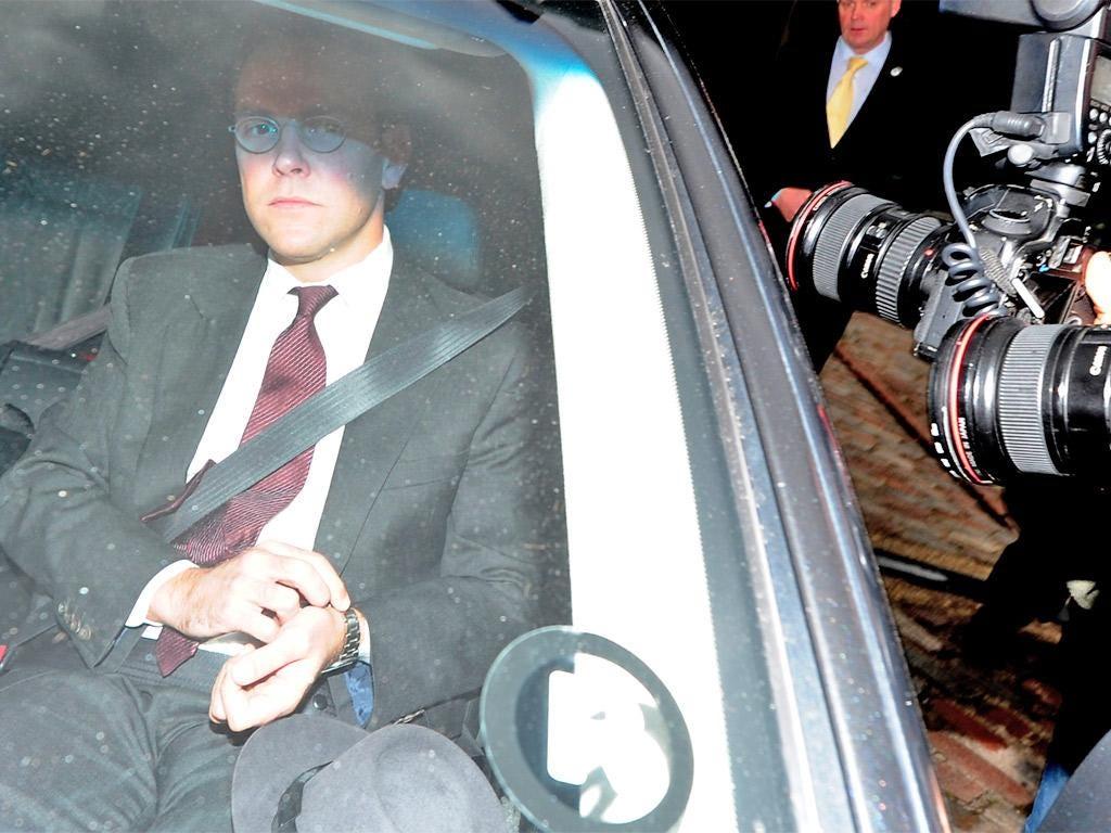 James Murdoch leaves Sky's annual general meeting yesterday