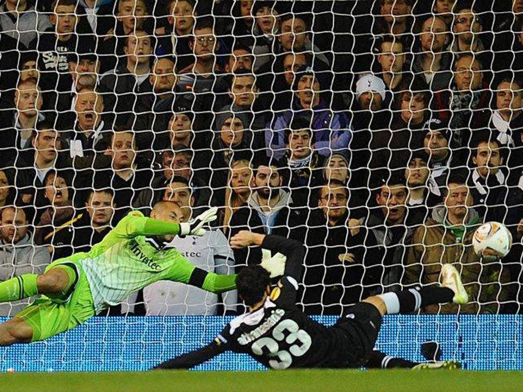Stefanos Athanasiadis of PAOK scores their second goal against Spurs