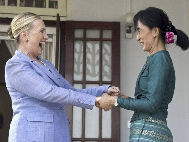 Hillary Clinton and Aung San Suu Kyi met yesterday