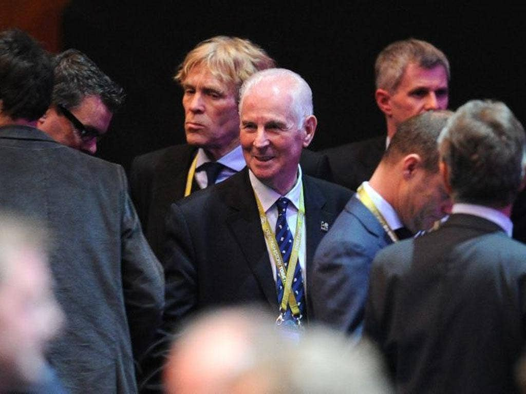 The Ireland manager Giovanni Trapattoni at the Euro 2012 draw. His side will have their work cut out to emerge from a group of Spain, Italy and Croatia