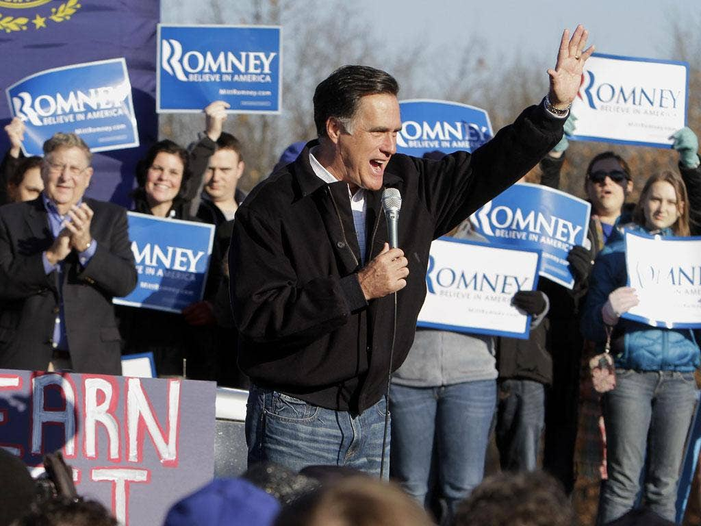 Republican presidential candidate, Mitt Romney, speaks to supporters and volunteers during a rally