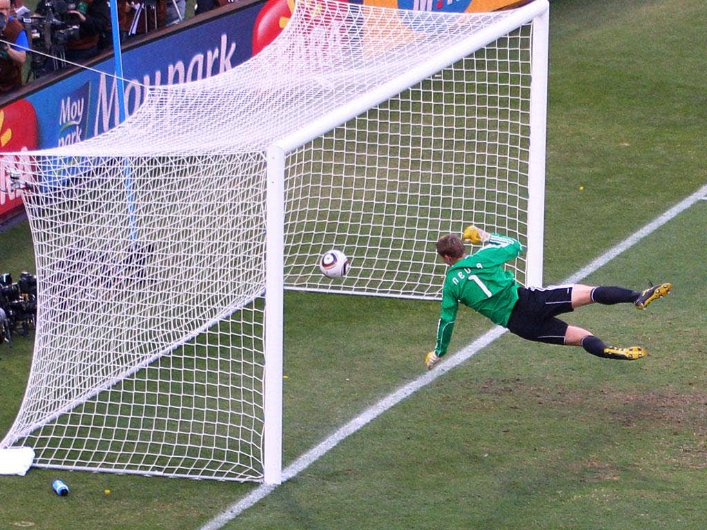 German goalkeeper Manuel Neuer watches Frank Lampard's strike bounce off the crossbar and over the line during the 2010 World Cup. The goal was disallowed and England were knocked out of the tournament