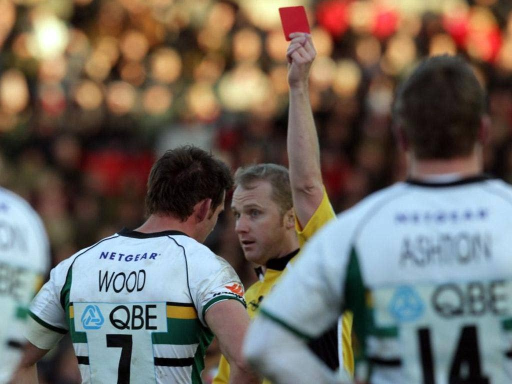 Northampton's Tom Wood is shown a red card during the Premiership match with Leicester at Welford Road at the weekend