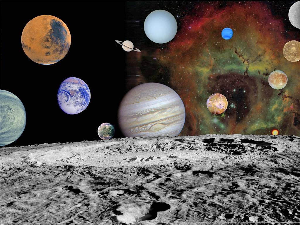 A montage of images taken by the Voyager spacecraft