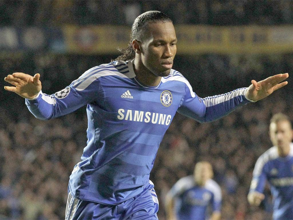 Didier Drogba celebrates giving Chelsea the lead on a night when he was back to his best