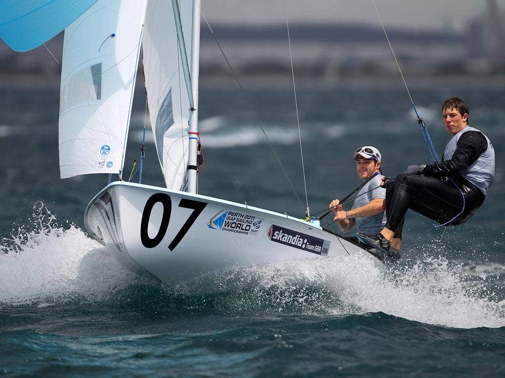 Luke Patience (left) and Stuart Bithell revel in conditions in which they scored three wins and went to the top of the 470 table at the world championships of sailing off Fremantle, W Australia