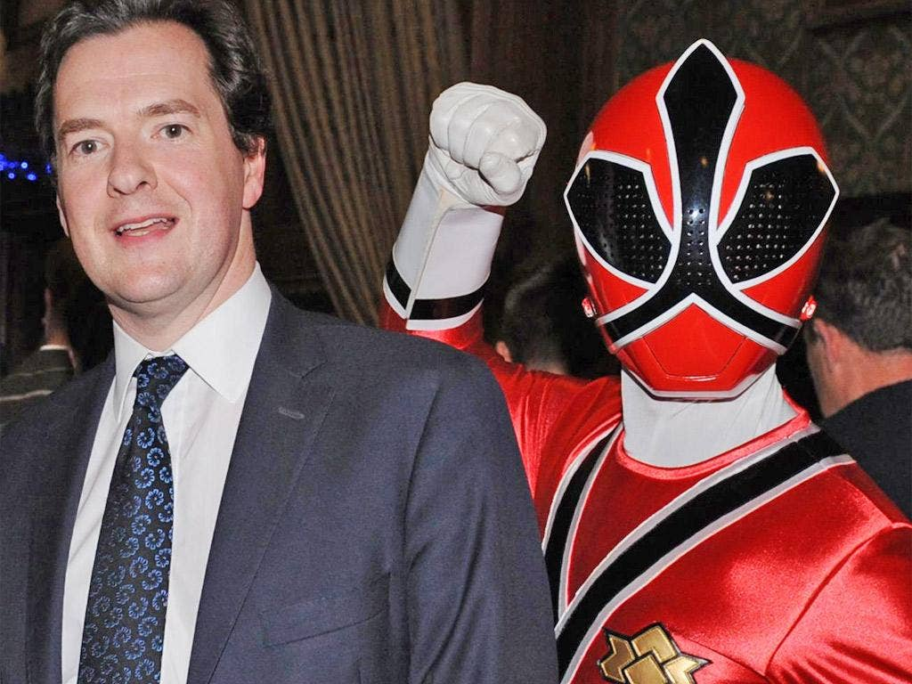 Mr Osborne encounters a Power Ranger at a children's party yesterday