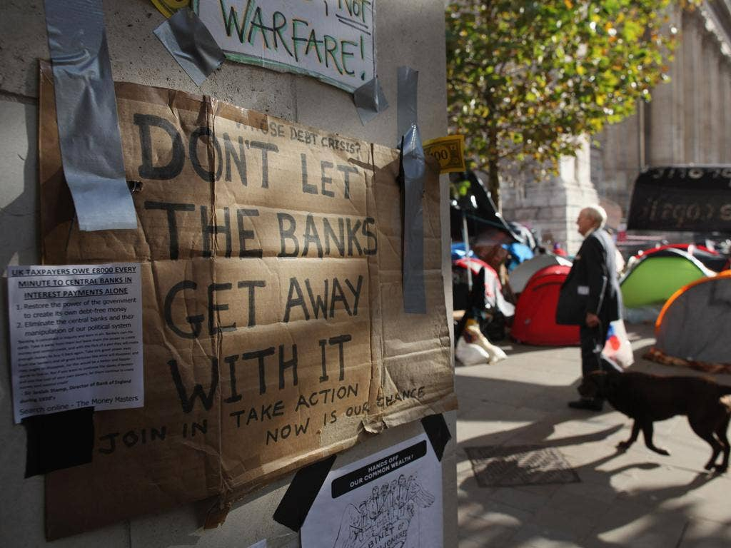 The 99 per cent: protesters in St Paul's as part of the Occupy London movement