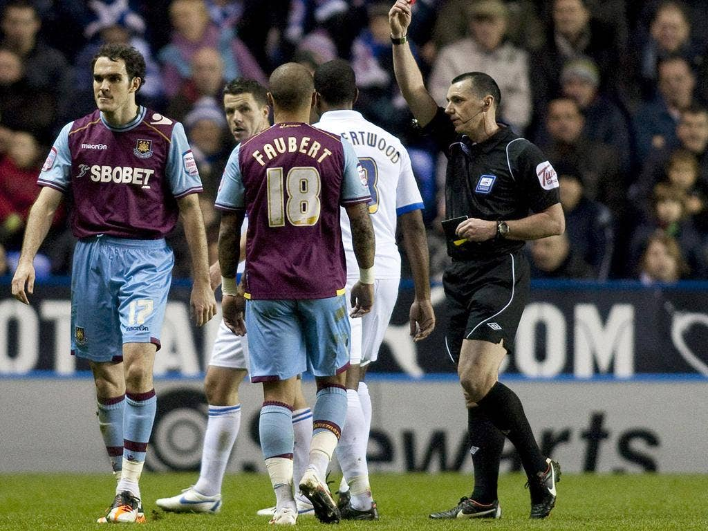 West Ham's full-back Joey O'Brien is sent off at the Madejski
