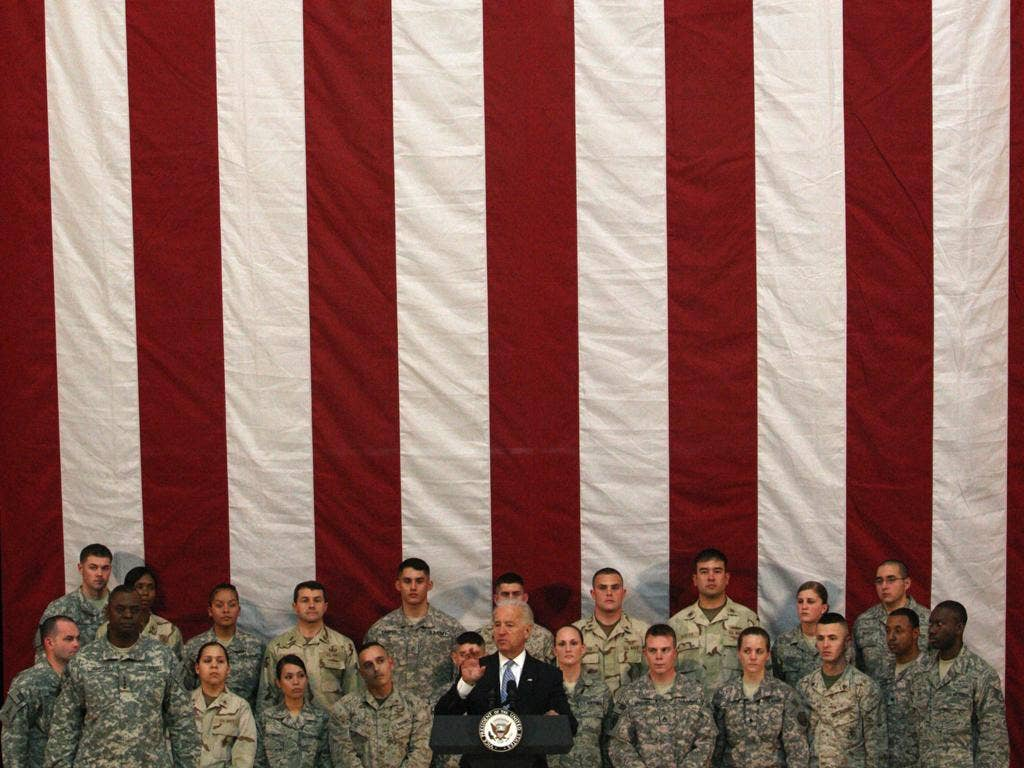 Iraqis have mocked Joe Biden, here addressing soldiers in Baghdad, for claiming great achievements for the US