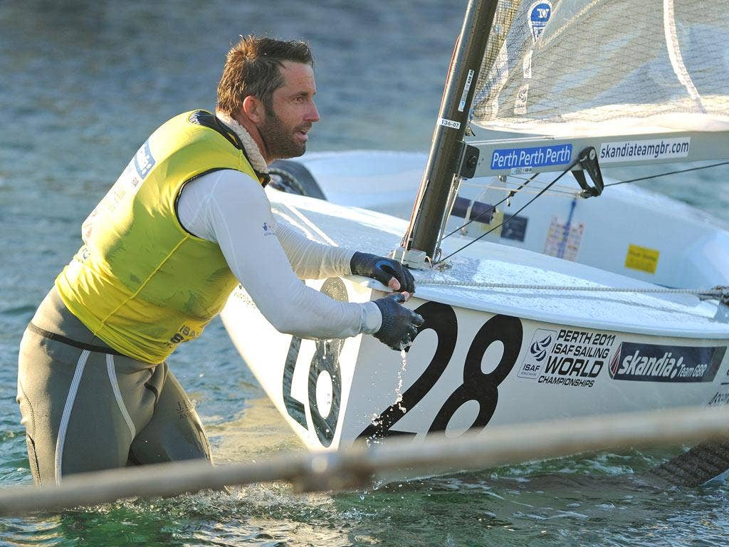 Ben Ainslie arrives back at the Royal Perth Annexe after the incident during the Finn class gold fleet racing at the ISAF World Sailing event