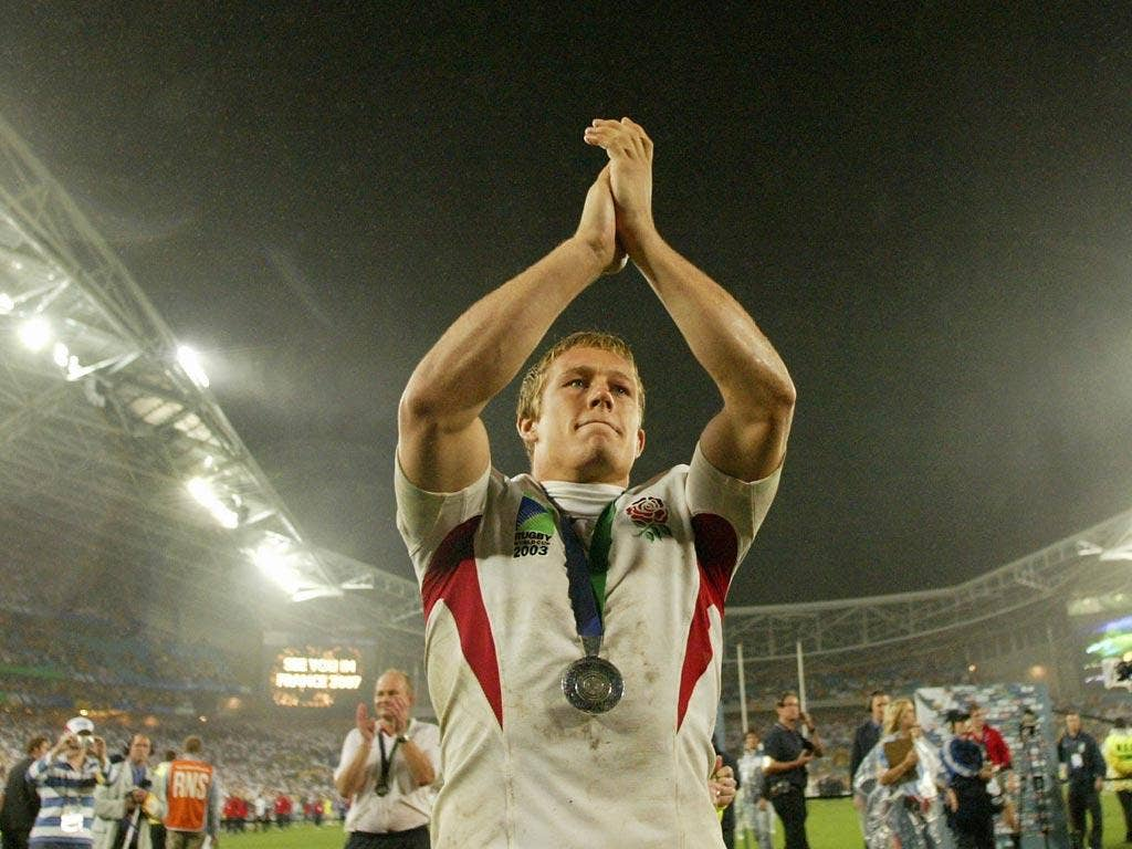 Jonny Wilkinson pictured celebrating England's 2003 World Cup triumph, in which he kicked the winning points in the final