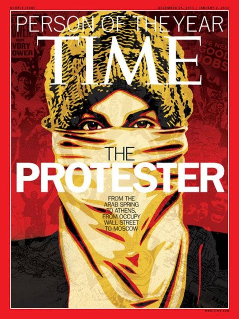 Time Magazine shows the Person of the Year issue featuring 'The Protester'