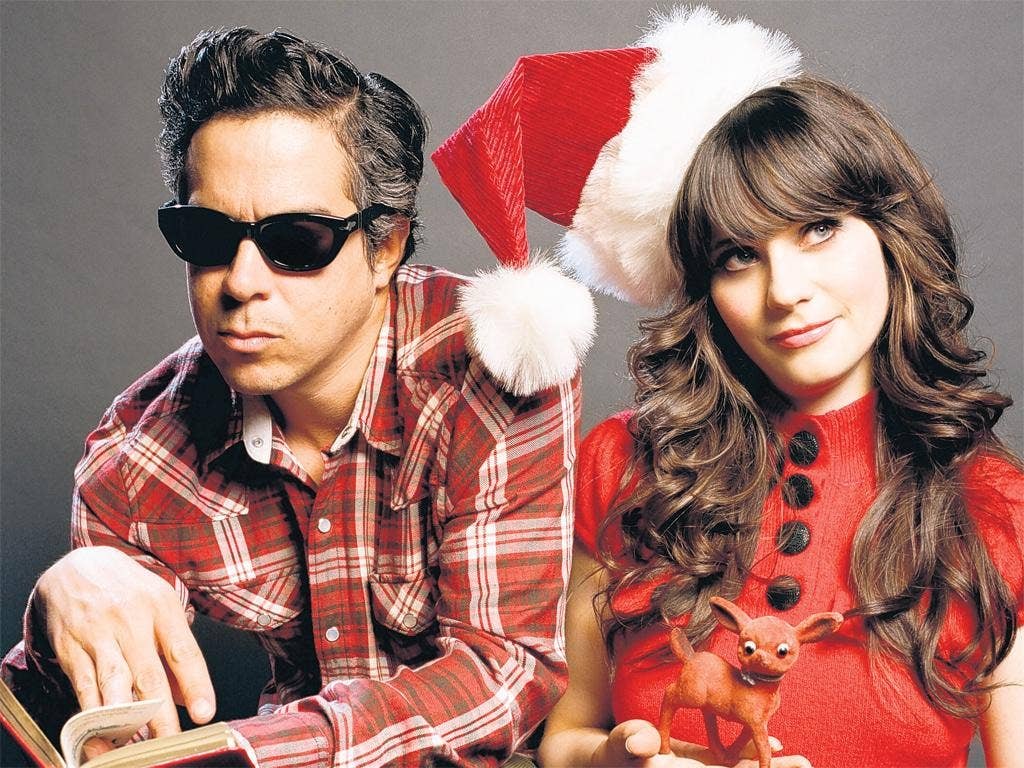 Looks like reindeer: Zooey Deschanel and MWard of She & Him, who are having 'A Very She & Him Christmas'