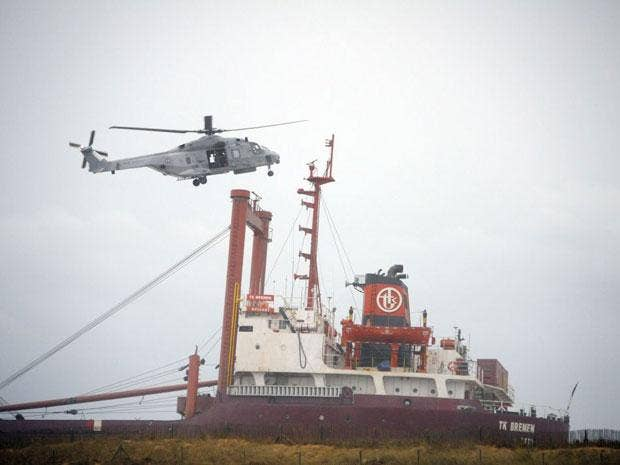 High winds have beached a cargo ship off France's Atlantic coast