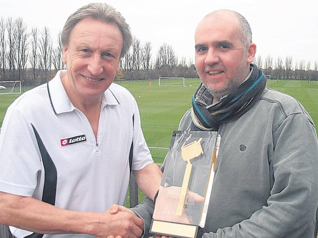 First trophy of the season as I collect the BBC London Sports Personality of the Year award from presenter Phil Parry