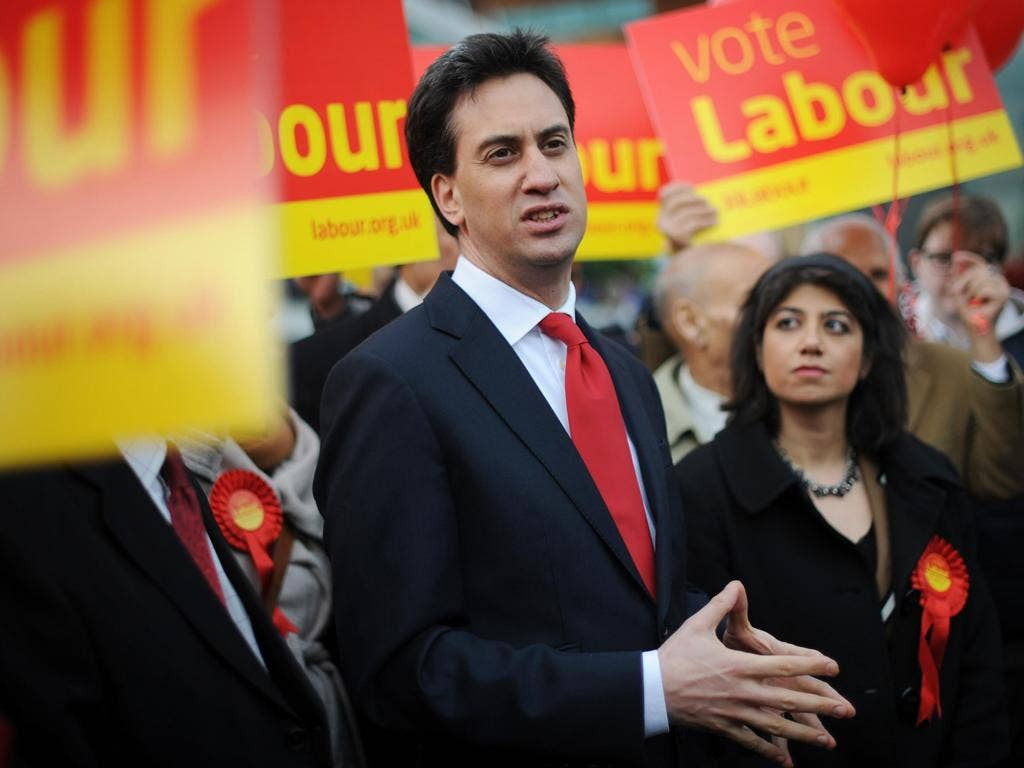 Ed Miliband with Feltham and Heston by-election winner Seema Malhotra in the constituency yesterday