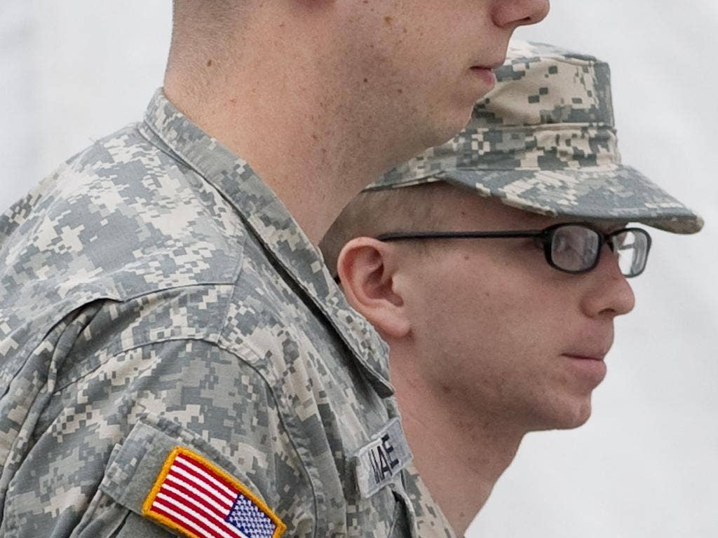 Bradley Manning arrives for the hearing at Fort Meade yesterday