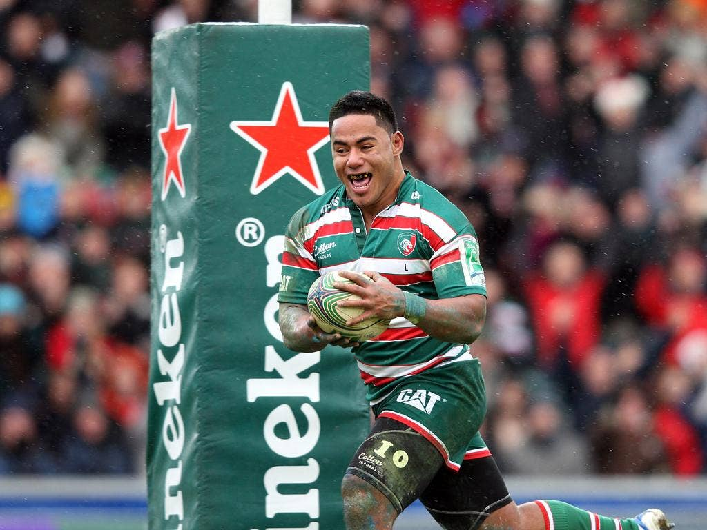 Manu Tuilagi races clear to score Leicester's first try