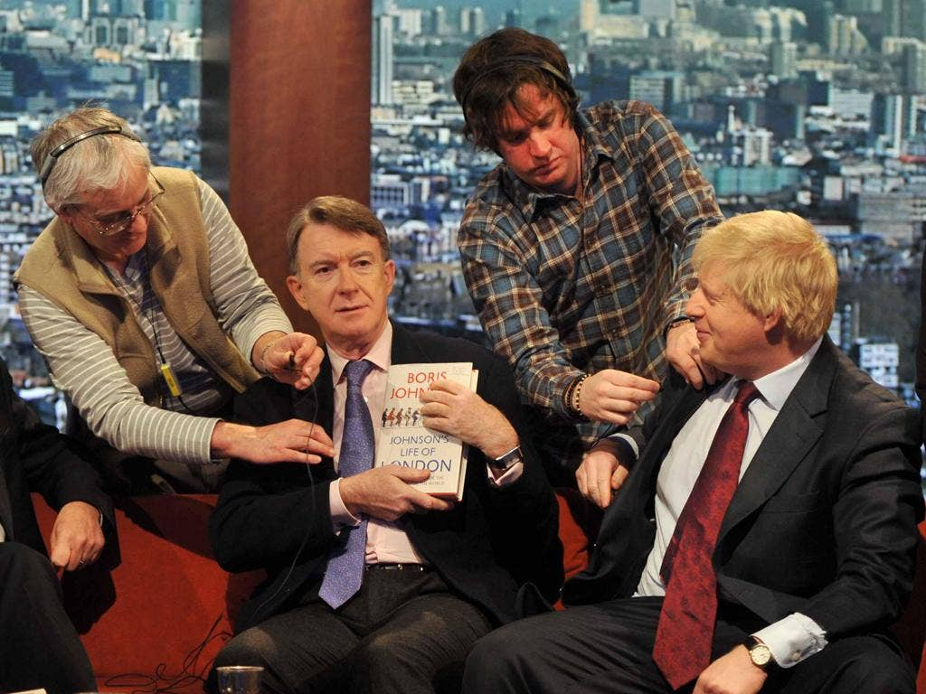 Unusual couch-fellows Boris Johnson, right, and former Labour Cabinet minister Lord Mandelson on The Andrew Marr Show yesterday